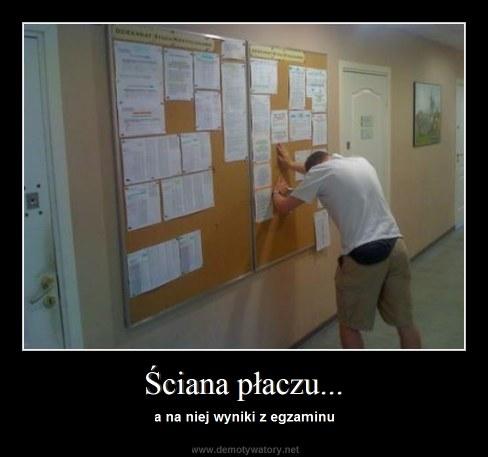 Ściana płaczu... - a na niej wyniki z egzaminu